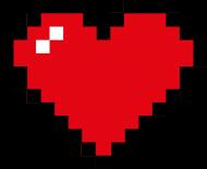 Pixel Art - Czerwone Serce - styl retro - 8 bit - inspirowane starą grafiką, taką jaka występuje w grze Minecraft - dziewczynka koszulka