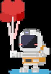 Pixel Art - astronauta z balonami - styl retro - 8 bit - grafika inspirowana grą Minecraft - magiczny kubek