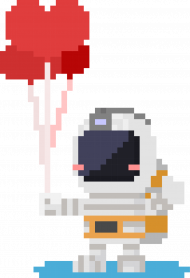 Pixel Art - astronauta z balonami - styl retro - 8 bit - grafika inspirowana grą Minecraft - chłopiec koszulka