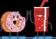 Pixel Art - pączek i cola kciuk do góry - styl retro - 8 bit - grafika inspirowana grą Minecraft - damska koszulka