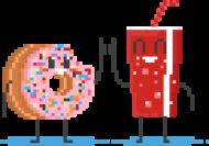 Pixel Art - pączek i cola kciuk do góry - styl retro - 8 bit - grafika inspirowana grą Minecraft - chłopieckoszulka