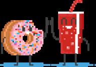 Pixel Art - pączek i cola kciuk do góry - styl retro - 8 bit - grafika inspirowana grą Minecraft - dziewczynka koszulka