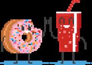 Pixel Art - pączek i cola kciuk do góry - styl retro - 8 bit - grafika inspirowana grą Minecraft - torba