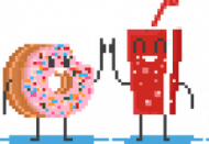 Pixel Art - pączek i cola kciuk do góry - styl retro - 8 bit - grafika inspirowana grą Minecraft - magiczny kubek