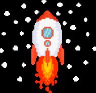 Pixel Art - Rakieta w kosmosie - styl retro - 8 bit - grafika inspirowana grą Minecraft - magiczny kubek