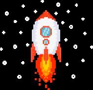 Pixel Art - Rakieta w kosmosie - styl retro - 8 bit - grafika inspirowana grą Minecraft - chłopiec koszulka