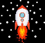 Pixel Art - Rakieta w kosmosie - styl retro - 8 bit - grafika inspirowana grą Minecraft - dziewczynka koszulka