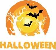 Upiorny napis Halloween i straszna sceneria - grafika - księżyc - nietoperz - komiks - męska koszulka