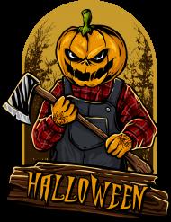 Straszna postać dyniogłowego z siekierą i upiorny napis Halloween - grafika - komiks - męska koszulka