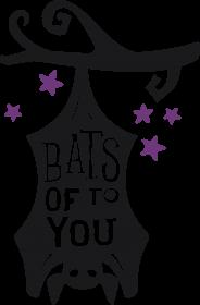 Bats Of To You - zabawny napis - nietoperz - Halloween - gwiazdy - gałąź - grafika - komiks - damska koszulka