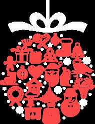 Świąteczna bąbka choinkowa - mikołaj - choinka - zima - śnieg - prezent - święta - Boże Narodzenie - czerwony - biały - damska koszulka