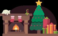 Świąteczna atmosfera - choinka - skarpeta - śnieg - prezenty - kominek - kot - Boże Narodzenie - męska koszulka
