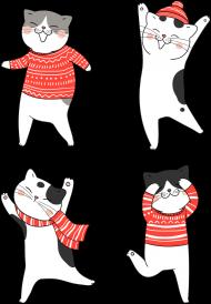 Tańczące koty w świątecznych ubraniach sweter - szalik - czapka - Boże Narodzenie - damska koszulka