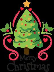 Choinka z bąbkami i gwiazdą oraz napis Merry Christmas - Boże Narodzenie - męska koszulka