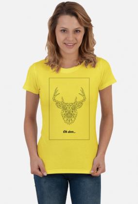 Jeleń - natura - przyroda - zwierze - sztuka - linie - czarny - napis - humor