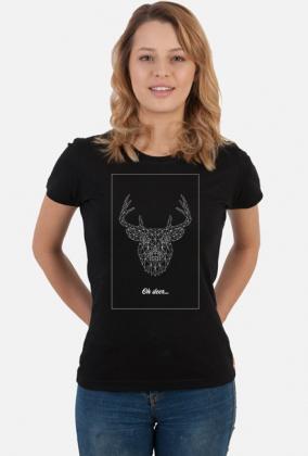 Jeleń - natura - przyroda - zwierze - ptak - sztuka - linie - biały - napis - humor