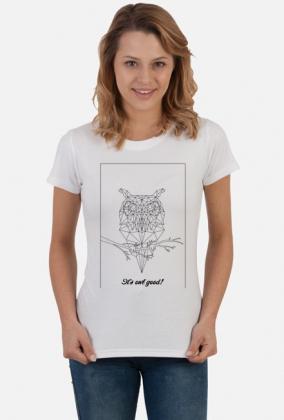 Sowa - natura - przyroda - zwierze - ptak - sztuka - linie - czarny - napis - humor