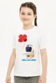 Pixel Art - astronauta z balonami - styl retro - 8 bit - grafika inspirowana grą Minecraft - dziewczynka koszulka
