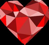 Serce geometryczne małe (dekolt w serek)