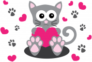 Bawełniana maseczka wielorazowa trójwarstwowa z kotem