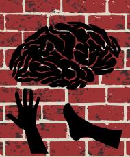 ręka noga mózg na ścianie