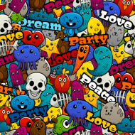 maseczka kolorowa z wzorem graffiti graiti