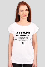 Have husband and be happy - t-shirt oversize bialy