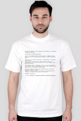 Koszulka biała - Przemęczenie użytkownika komputera - Blue Screen of Death - - koszulki dla informatyków