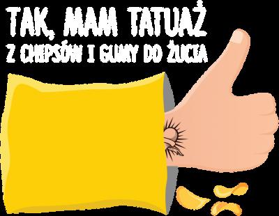 """Koszulka Damska""""Tak,Mam Tatuaż z Chipsów i Gumy do żucia"""""""